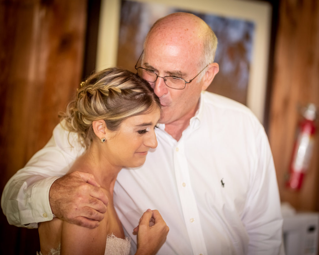 Father with the bride before her wedding