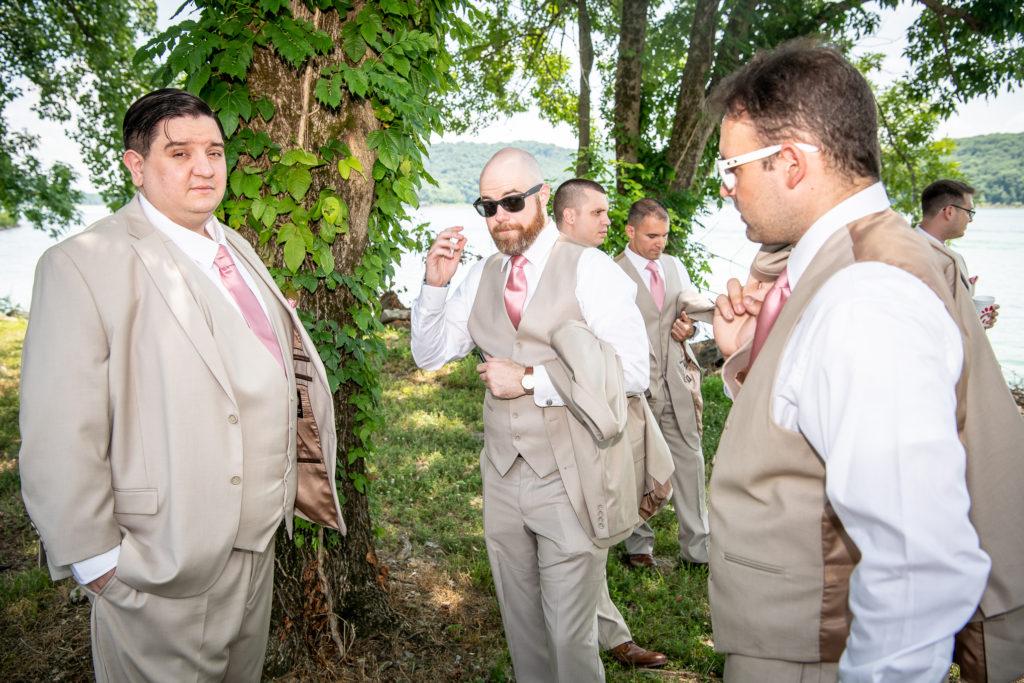 groomsmen wearing sunglasses
