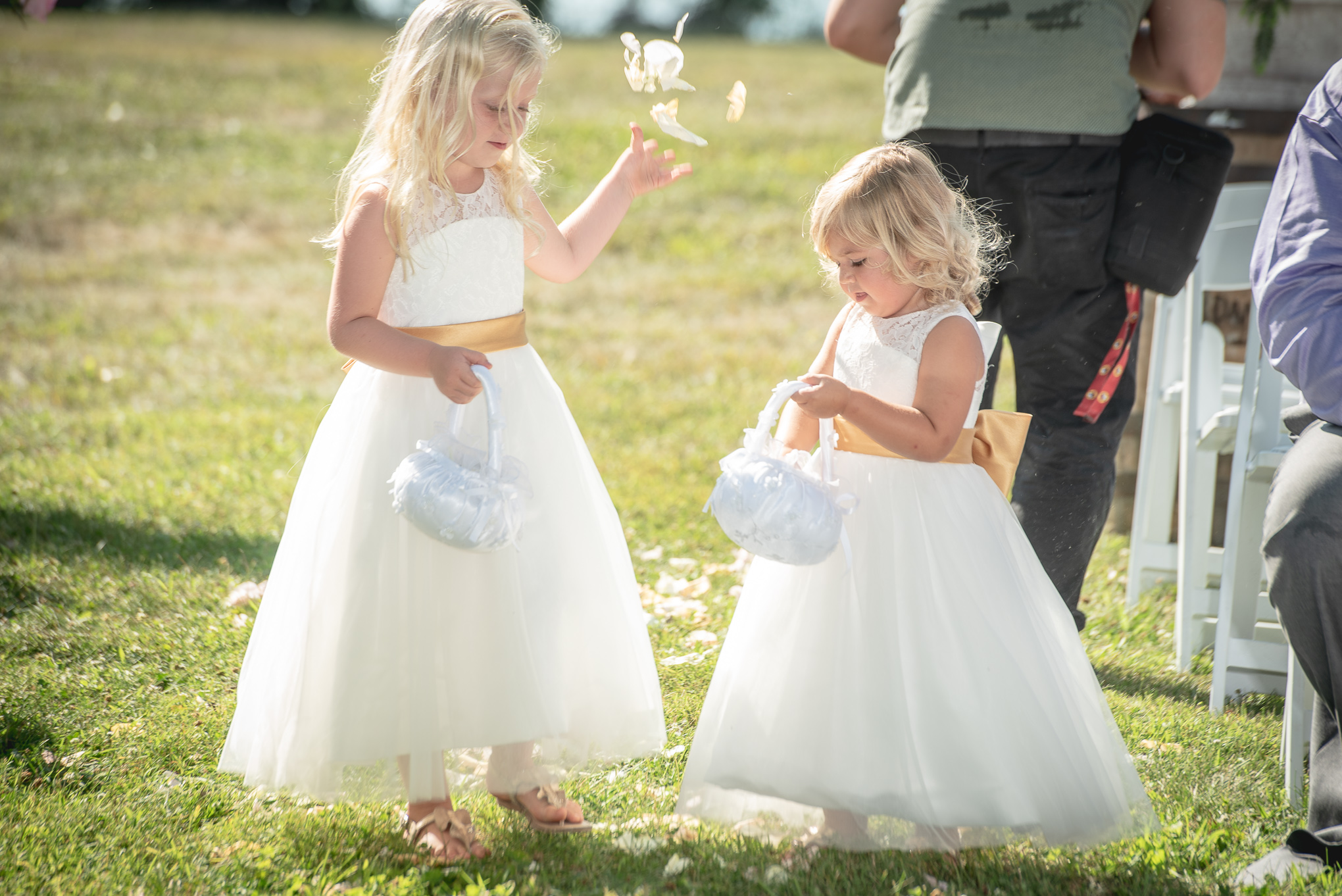 flower girls at the wedding ceremony