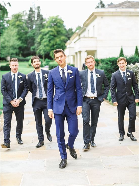Mix and Match groom and groomsmen attire as seen on Wedding Chicks